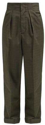 Masscob Allende High-rise Checked Trousers - Womens - Dark Green