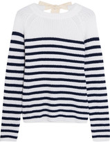 Joseph Bow-detailed Striped Cashmere Sweater - White