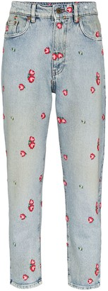 Miu Miu Floral-Embroidered Tapered Jeans