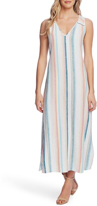 Vince Camuto Beach Haze Stripe Sleeveless Linen Blend Dress
