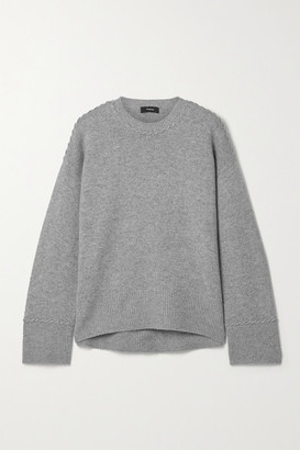 Theory Karenia Whipstitched Melange Cashmere Sweater - Gray