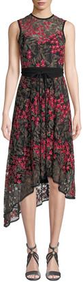 Nanette Lepore Charmer A-Line Dress w/ Floral Overlay