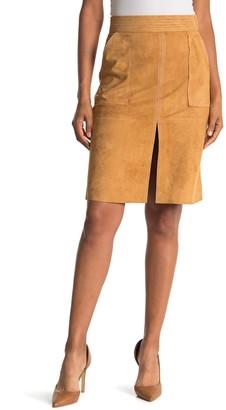 Frame Trapunto Stitch Suede Skirt