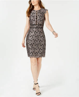 Night Way Nightway Metallic Lace Sheath Dress
