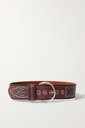 Etro Printed Textured-leather Belt - Burgundy