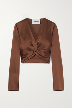 Nanushka Ula Cropped Twist-front Satin Top - Brown