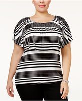 INC International Concepts Plus Size Striped Popover Top, Only at Macy's