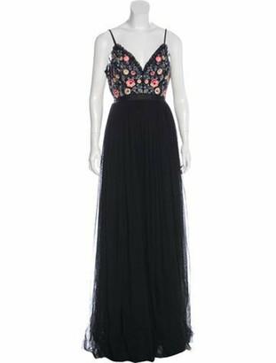 Needle & Thread Embroidered Chiffon Evening Dress Black