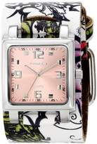 Nemesis Women's 302-516P Punk Rock Floral Design Leather Cuff Band Watch