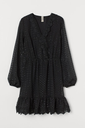 H&M Lace-detail Plumeti Dress - Black