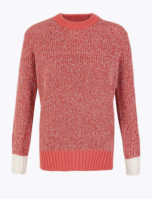 Marks and Spencer Cotton Textured Round Neck Jumper