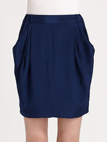 3.1 Phillip Lim Draped-Pocket Silk Skirt