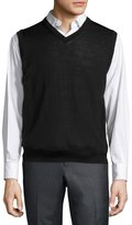 Neiman Marcus Tipped V-Neck Pullover Sweater Vest, Black
