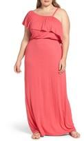Bobeau Plus Size Women's Ruffle One Shoulder Maxi Dress