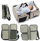 Vivay Baby Travel Bed Bag 3 in 1 Diaper Bag Baby Portable Travel Bed Bag for Toddlers Change Station -Tan