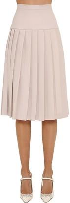 Alessandra Rich Pleated Cool Wool Midi Skirt
