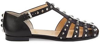 Christian Louboutin Loubiclou Spiked Leather T-Strap Flats