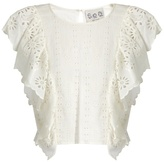 Sea Ruffled-front broderie-anglaise cotton top
