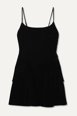 Alexander Wang Layered Velvet Mini Dress - Black