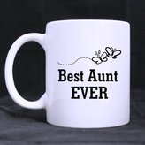 Bestgift Funny High Quality Funny Best Aunt Ever Theme Coffee Mug or Tea Cup,Ceramic Material Mugs,White