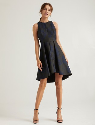 Halston Floral Jacquard Dress