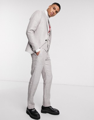 Twisted Tailor slim linen suit pants in stone
