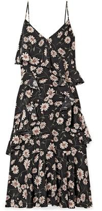 Michael Kors Ruffled Floral-print Silk Crepe De Chine Midi Dress