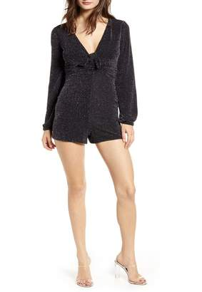 Love, Nickie Lew Glitter Knot Front Long Sleeve Romper