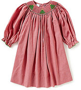 Edgehill Collection Baby Girls 3-24 Months Christmas Tree Face Smocked Long-Sleeve Dress