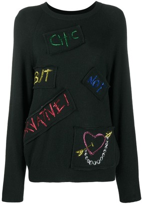 Boutique Moschino Multiple Patch Rib-Trimmed Jumper