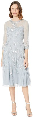 Adrianna Papell Beaded Covered Midi Fit-and-Flare Cocktail Dress (Blue Heather) Women's Dress