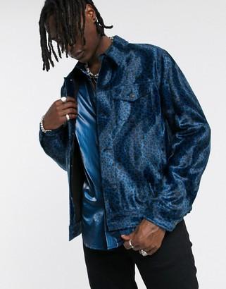 ASOS EDITION faux fur western jacket in blue leopard print