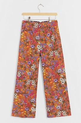 Maeve Flower Power Wide-Leg Trousers