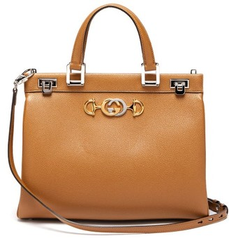 Gucci Zumi Medium Top-handle Leather Bag - Womens - Beige