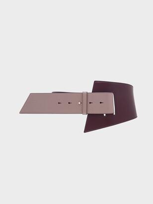 Charles & Keith Two-Tone Asymmetric Waist Belt