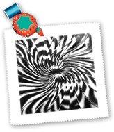 3dRose LLC qs_45025_1 Florene Black and White - Black n White Whirlpool - Quilt Squares