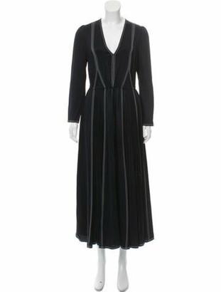 Valentino Long-Sleeve Maxi Dress w/ Tags Blue