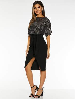 Quiz X Sam Faiers Sequin Batwing Belted Dress - Black