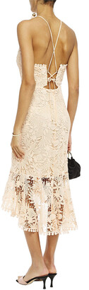 Maria Lucia Hohan Ayane Lace-up Fluted Cotton Guipure Lace Dress