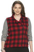 Chaps Plus Size Buffalo Check Asymmetrical Sweater Vest