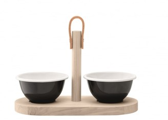 Ash Black By Design - Black Pepper Utility Tapas Duo Set with Tray - Black/Wood