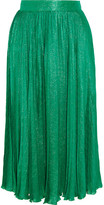 Gucci Pleated Silk-blend Jacquard Midi Skirt - Emerald