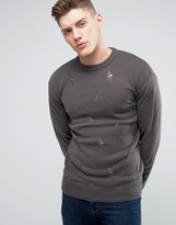 Brave Soul Knitted Jumper With Rips