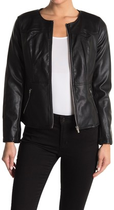 Catherine Malandrino Crew Neck Zip Front Faux Leather Jacket