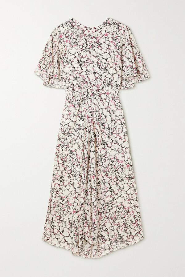 Thumbnail for your product : Isabel Marant Berwick Printed Silk Crepe De Chine Midi Dress - Ecru