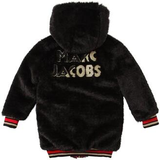 Little Marc Jacobs Reversible Check Nylon & Faux Fur Coat
