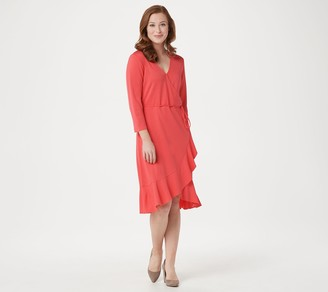 Isaac Mizrahi Live! 3/4-Sleeve Ruffle Hem Knit Wrap Dress