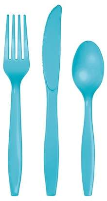 Creative Converting 24ct Bermuda Blue Assorted Plastic Disposable Silverware Flatware