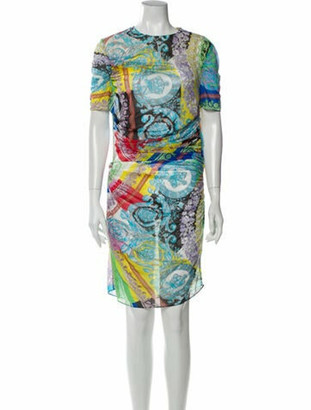 Versace Printed Knee-Length Dress w/ Tags Yellow