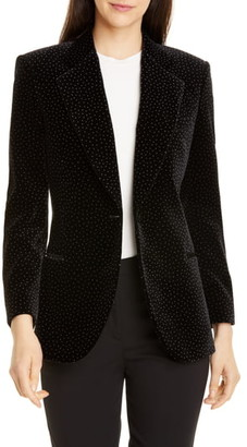 Theory Dotted Cinched Cotton Velveteen Blazer